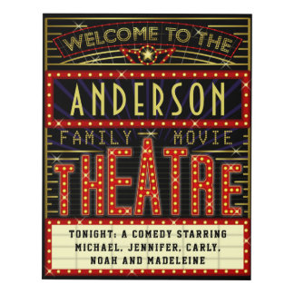 Movie Theatre Marquee Home Cinema | Custom Name Panel Wall Art