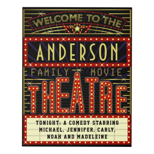 Movie Theatre Marquee Home Cinema | Custom Name Panel Wall Art ...