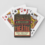 "Movie Theatre Marquee Home Cinema | Custom Name Playing Cards<br><div class=""desc"">Enjoy family movie and game night in style with these original theatre / theater themed playing cards. Made to look like a retro cinema marquee with faux lights and lots of sparkle, these personalized cards are the perfect ritzy accessory for any movie buff. The main color scheme is red, gold...</div>"