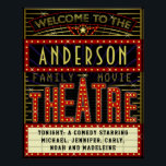 "Movie Theatre Marquee Home Cinema | Custom Name Poster<br><div class=""desc"">Enjoy family movie night in style with this original theatre / theater wall poster. Made to look like a retro cinema marquee with faux lights and lots of sparkle, this personalized poster is the perfect ritzy accessory for any movie buff. The main color scheme is red, gold and black. All...</div>"
