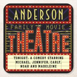 Movie Theatre Marquee Home Cinema | Custom Name Square Paper Coaster