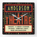 Movie Theatre Marquee Home Cinema | Custom Name Square Wall Clock