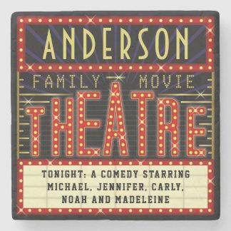 Movie Theatre Marquee Home Cinema | Custom Name Stone Coaster