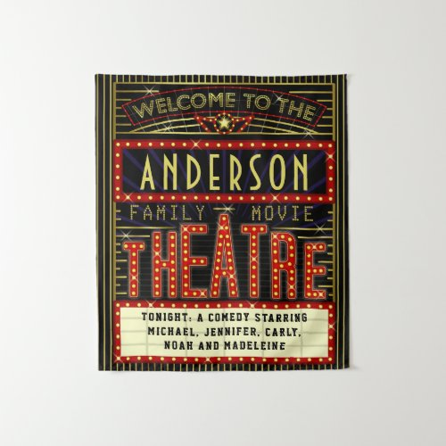 Movie Theatre Marquee Home Cinema  Custom Name Tapestry