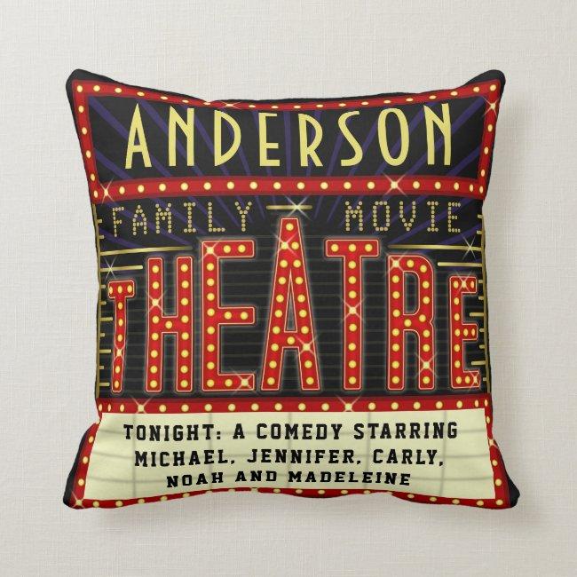Movie Theatre Marquee Home Cinema   Custom Name Throw Pillow