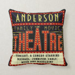"Movie Theatre Marquee Home Cinema | Custom Name Throw Pillow<br><div class=""desc"">Enjoy family movie night in style with these original theatre / theater double-sided pillows. Made to look like a retro cinema marquee with faux lights and lots of sparkle, these personalized pillows are the perfect ritzy accessory for any movie buff. The main color scheme is red, gold and black. All...</div>"