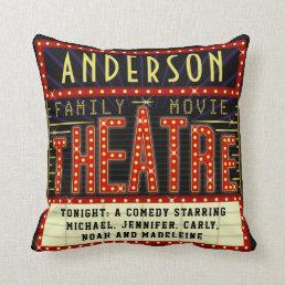 Movie Theatre Marquee Home Cinema | Custom Name Throw Pillow