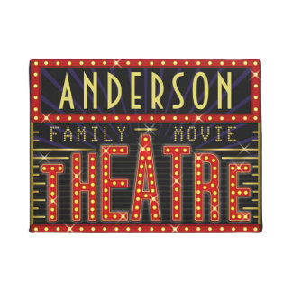 Movie Theatre Marquee Home Cinema | Custom Name V1 Doormat