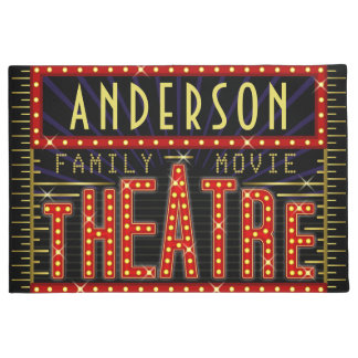 Movie Theatre Marquee Home Cinema | Custom Name V2 Doormat