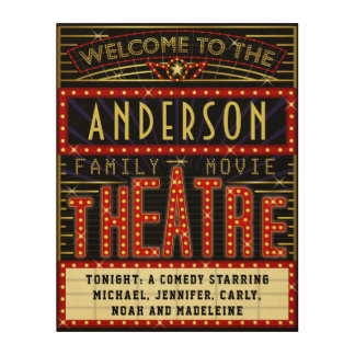 Movie Theatre Marquee Home Cinema | Custom Name Wood Wall Art