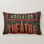 "Movie Theatre Marquee Home Cinema | Personalized Lumbar Pillow<br><div class=""desc"">Enjoy family movie night in style with these original theatre / theater double-sided lumbar pillows. Made to look like a retro cinema marquee with faux lights and lots of sparkle, these personalized pillows are the perfect ritzy accessory for any movie buff. The main color scheme is red, gold and black....</div>"