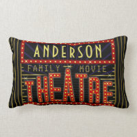 Movie Theatre Marquee Home Cinema | Personalized Lumbar Pillow
