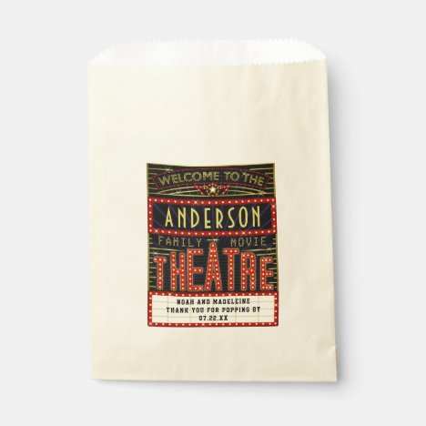 Movie Theatre Marquee Popcorn Cinema Wedding Names Favor Bag