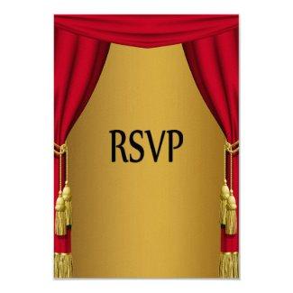 "Movie Theme Curtains Gold RSVP 3.5"" X 5"" Invitation Card"