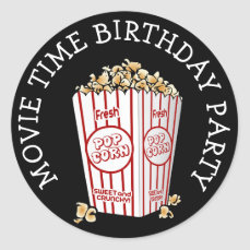 Movie Themed Birthday Party Popcorn Stickers