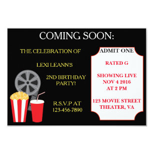 movie theater invitations zazzle
