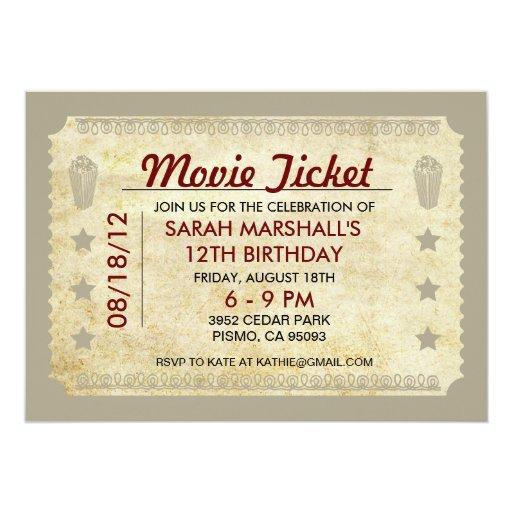 Movie Ticket 5x7 Paper Invitation Card