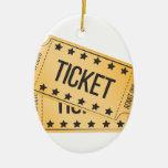 Movie Ticket Ceramic Ornament