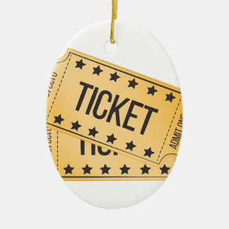 Movie Ticket Ceramic Ornament