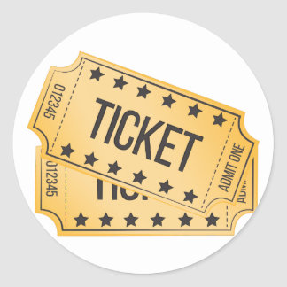 Movie Ticket Classic Round Sticker