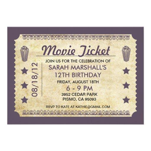 good movie ticket birthday invitation for 58 movie ticket birthday party invitations