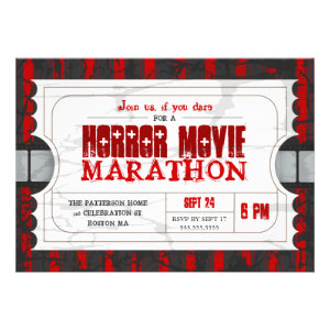 Movie Ticket Horror Movie Party Admission Invite