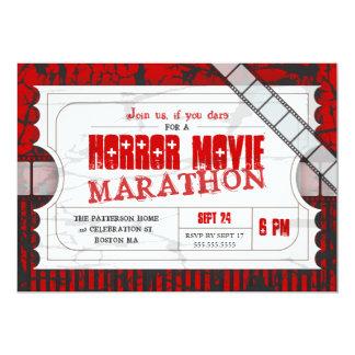 "Movie Ticket Horror Movie Party Admission Invite 5"" X 7"" Invitation Card"