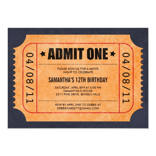 movie ticket invitations zazzle com