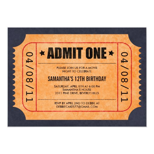 "Movie Ticket Invitations 5"" X 7"" Invitation Card"
