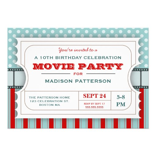 Movie Ticket Party Birthday Party Admission Ticket Personalized Invitation