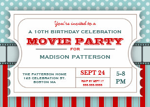 movie ticket party birthday party admission ticket invitation