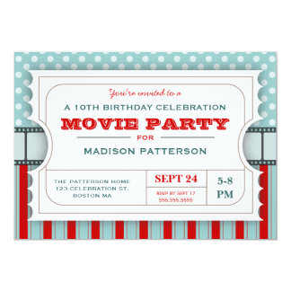 Movie Ticket Party Birthday Party Admission Ticket 5x7 Paper Invitation Card