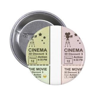 Movie Ticket Pinback Button