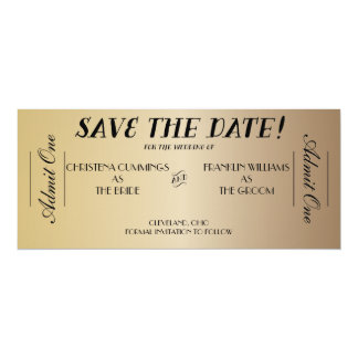 """Movie Ticket Save the Date Announcement (Gold) 4"""" X 9.25"""" Invitation Card"""