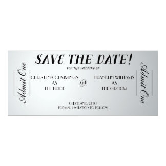 """Movie Ticket Save the Date Announcement (Silver) 4"""" X 9.25"""" Invitation Card"""