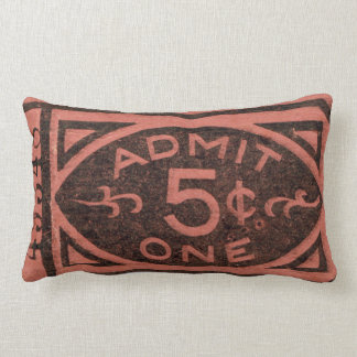 Movie Ticket Stub Vintage Admit One Five Cents Lumbar Pillow