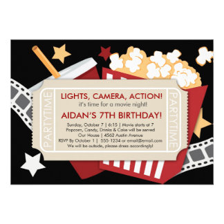 Movie Time Invitation - For boys or girls