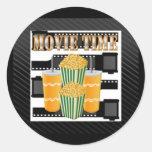 Movie Time Round Stickers