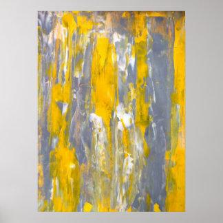 """""""Moviendo adelante"""" arte abstracto gris y amarillo"""
