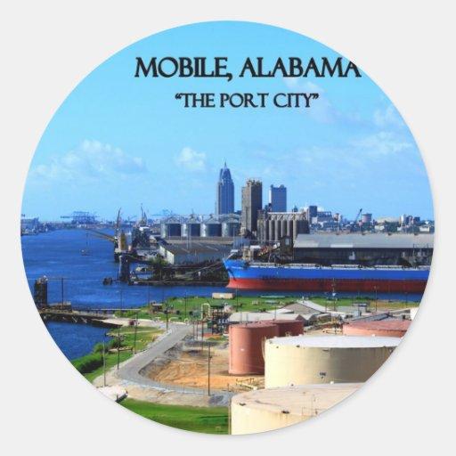 MÓVIL, ALABAMA - la ciudad de puerto Pegatina Redonda