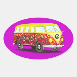 Móvil APACIBLE del autobús del coche del VERANO de Pegatina Ovalada