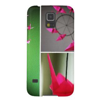 Móvil de la grúa de Origami de las rosas fuertes Funda De Galaxy S5