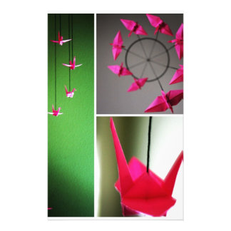 Móvil de la grúa de Origami de las rosas fuertes Papeleria De Diseño