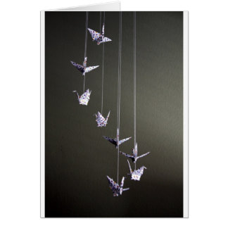 móvil de la grúa del origami del lunar tarjeta de felicitación