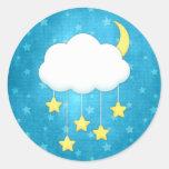 Móvil de la nube etiqueta redonda