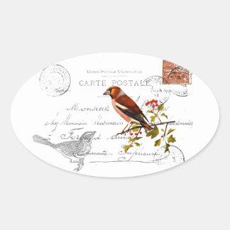 Móvil nostálgico con pájaro pegatina ovalada
