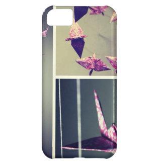 Móvil rosado del espiral de la grúa del origami de funda para iPhone 5C