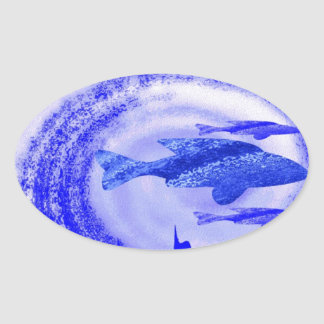 Movimiento de los pescados de mar profundo - arte pegatina ovalada