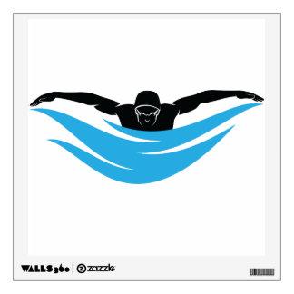 Movimiento de mariposa del nadador vinilo adhesivo