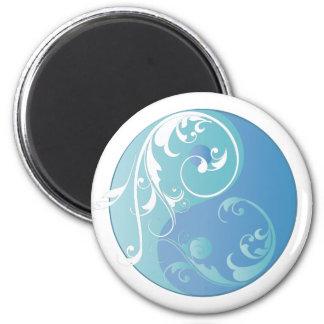 Movimiento en sentido vertical Yin y Yang (azules  Imán Redondo 5 Cm